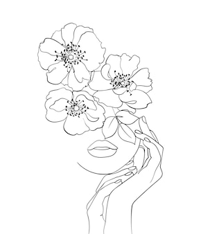 Piękna twarz z kwiatami rysowania linii sztuki. logo salonu piękności. symbol natury kosmetyków.-ilustracja wektorowa