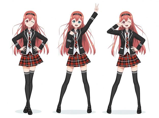 Piękna uczennica anime manga w spódnicy