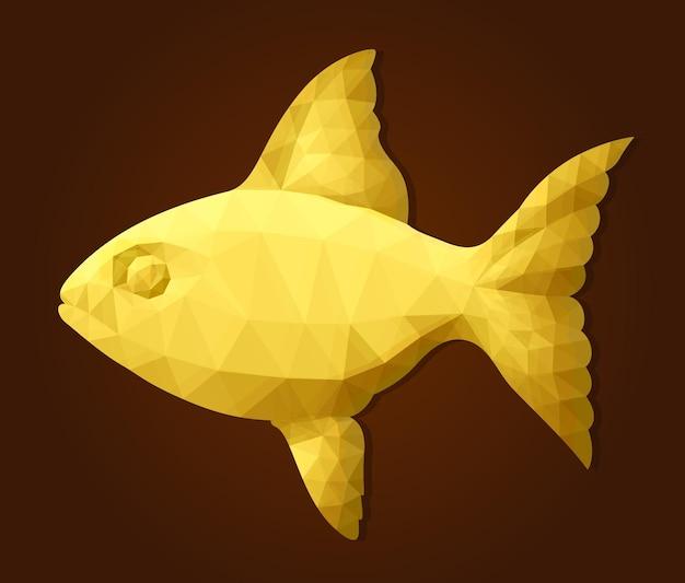 Piękna wektorowa ilustracja low poly z kolorową złotą sylwetką ryb na brązowym tle