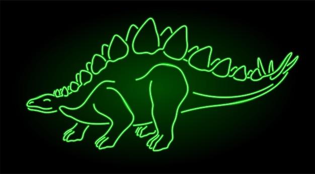Piękna wektorowa liniowa ilustracja z kolorową neonową zieloną stylizowaną błyszczącą sylwetką stegozaura na ciemnym tle