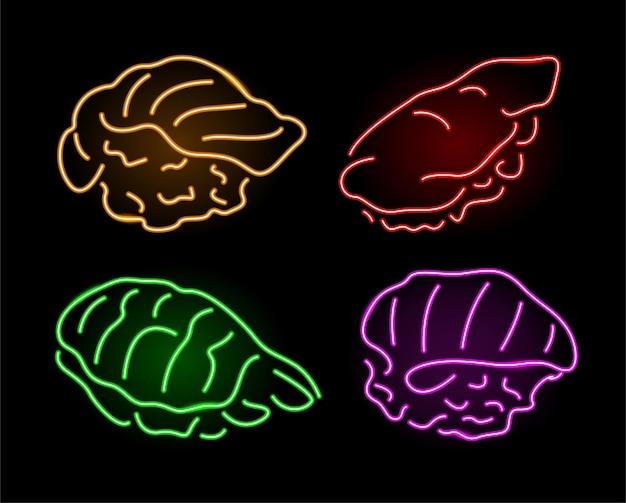 Piękna wektorowa neonowa ilustracja liniowa z kolorową stylizowaną błyszczącą kolekcją sushi na ciemnym tle