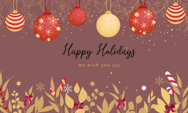 Piękna wesoła kartka bożonarodzeniowa ze złotymi liśćmi i ozdobą świąteczną