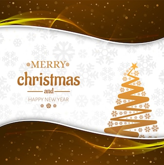 Piękna wesoło kartka bożonarodzeniowa z drzewnym tłem