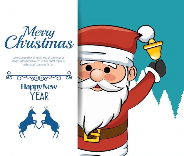 Piękna wesołych świąt kartka świąteczna santa bell