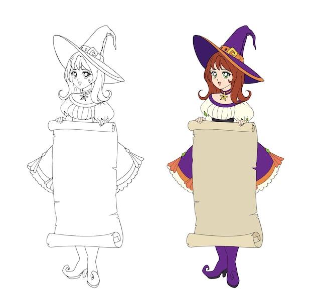 Piękna wiedźma anime trzymająca pergaminowy sztandar. rude włosy, fioletowa sukienka i duży kapelusz. ręcznie rysowane ilustracja do kolorowania książki. na białym tle