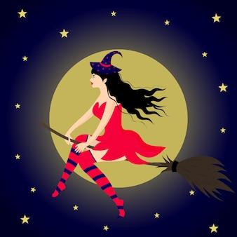 Piękna wiedźma latająca na miotle na tle księżyca