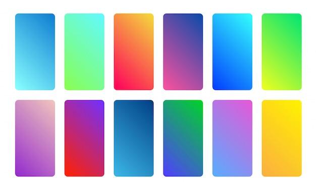 Piękna wielokolorowa kolekcja gradientowa. miękki i żywy, gładki zestaw kolorów. projekt ekranu dla aplikacji mobilnej