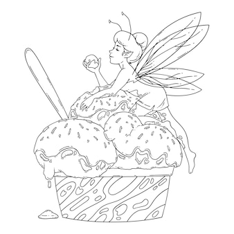 Piękna wróżka leży na kulkach lodów. zarys czarno-białej sztuki. sztuka żywności, koncepcja letniego odświeżenia, tradycyjne sezonowe zimne słodycze. kolorowanki ilustracja bajki.