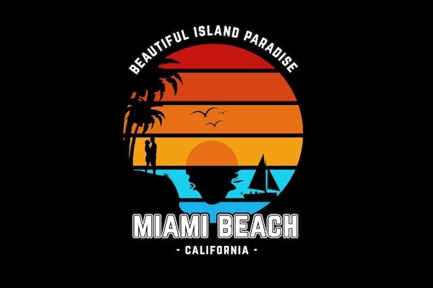 Piękna wyspa rajska plaża miami w kalifornii kolor pomarańczowy żółty i zielony