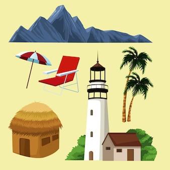 Piękna wyspy kreskówka przy zmierzchem
