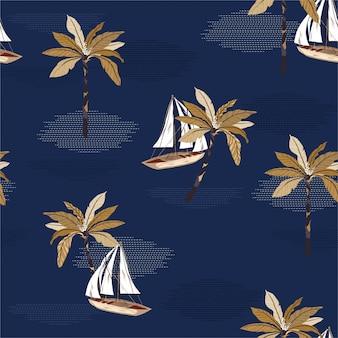 Piękna żaglówka, palmy na wzór oceanu