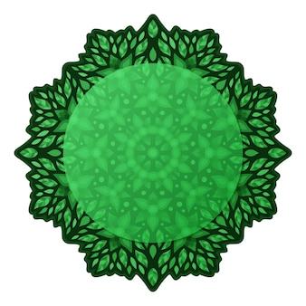 Piękna zielona mandala kwiatowa z liśćmi i przestrzenią do kopiowania