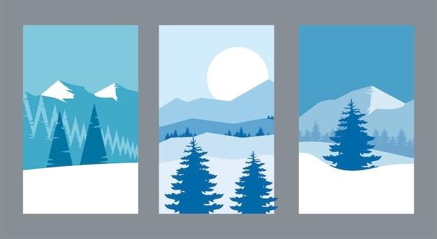 Piękna zima trzy krajobrazy sceny ilustracji