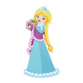 Piękna zimowa księżniczka trzyma prezent