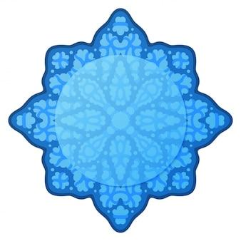 Piękna zimowa rama z izolowanym abstrakcyjnym niebieskim wzorem lodu z miejsca na kopię