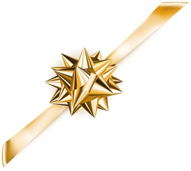 Piękna złota błyszcząca kokardka z ukośną wstążką z cieniem