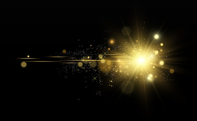 Piękna złota gwiazda na półprzezroczystym tle ze złotym pyłem i błyskami. wspaniała lekka podstawa dla twojego projektu.