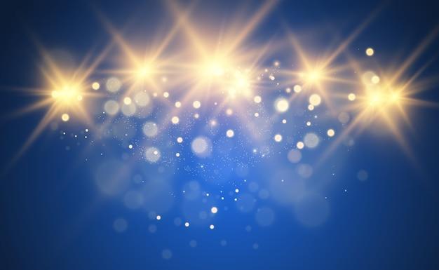 Piękna złota ilustracja gwiazdy na przezroczystym tle z złotym pyłem i błyszczy. wspaniała lekka podstawa dla twojego projektu.