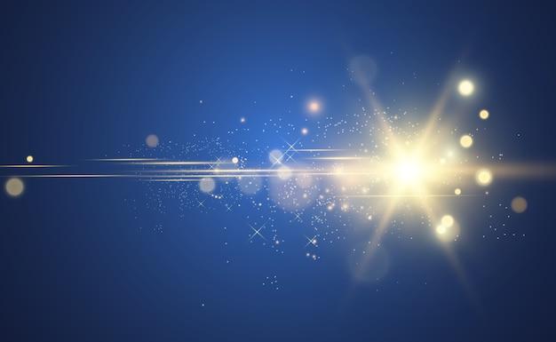 Piękna złota ilustracja gwiazdy na przezroczystym tle z złotym pyłem i błyszczy