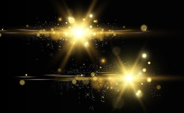 Piękna złota ilustracja gwiazdy na przezroczystym tle