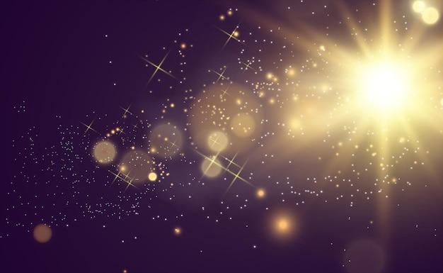 Piękna złota ilustracja wektorowa gwiazdy na przezroczystym tle ze złotym pyłem i blaskiem and