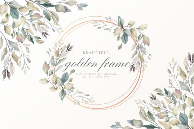 Piękna złota ramka z miękkimi liśćmi