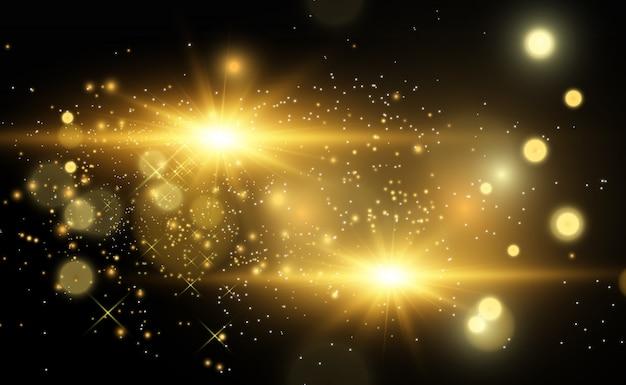 Piękna złota wektorowa ilustracja gwiazda na półprzezroczystym tle z złotym pyłem i błyskotliwościami. wspaniała lekka podstawa dla twojego.