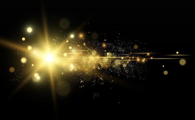 Piękna złota wektorowa ilustracja gwiazda na półprzezroczystym tle z złotym pyłem i błyskotliwościami.