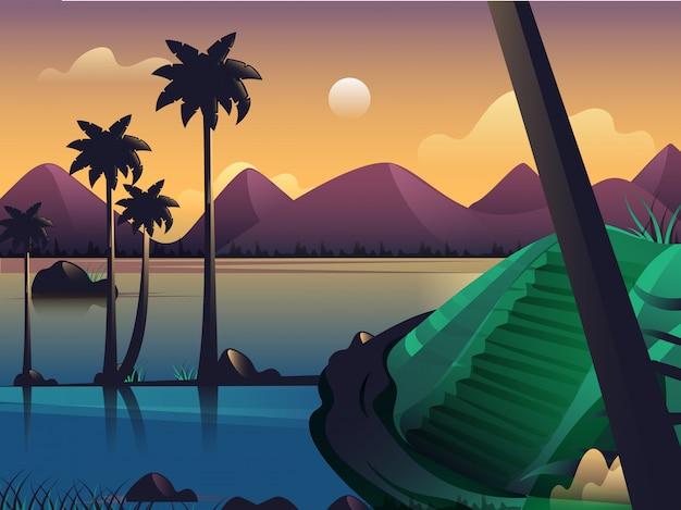 Piękna zmierzch natury krajobrazu plaży ilustracja.