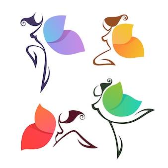 Piękne abstrakcyjne dziewczyny, wyglądające jak kolorowy motyl, do logo, etykiet lub emblematów