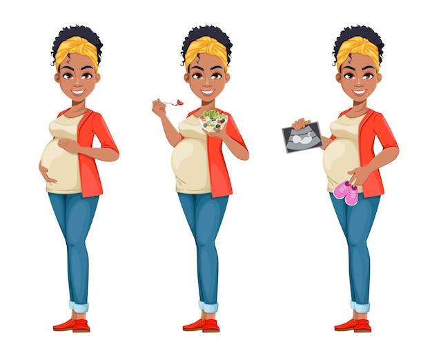 Piękne african american kobieta w ciąży, zestaw trzech poz