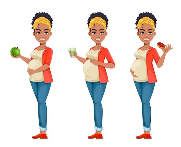 Piękne african american kobieta w ciąży zestaw trzech pozach