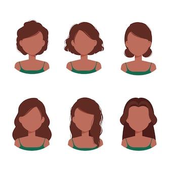 Piękne Afro-amerykańskie Kobiety Awatara Z Różnymi Kręconymi Fryzurami I Kolekcją Fryzur Premium Wektorów