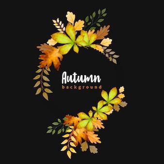 Piękne akwarela jesienne liście wieniec szablon tło