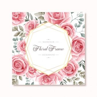 Piękne akwarela kwiatów róży kwiaty rama uniwersalne tło