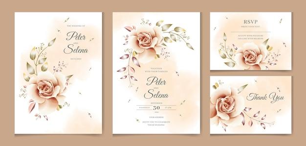 Piękne akwarela zaproszenie na ślub zestaw z elegancką różą i liśćmi premium wektor