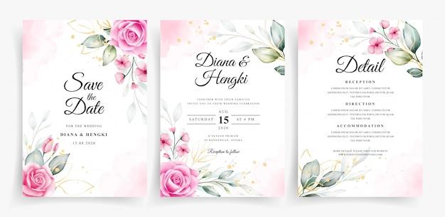 Piękne akwarele dekoracje kwiatowe na szablonie karty ślubu