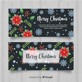 Piękne akwarele świąteczne banery