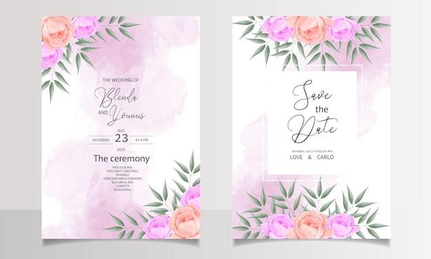 Piękne akwarele zaproszenia ślubne szablony