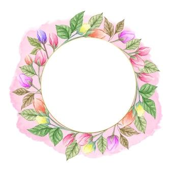 Piękne akwarele zielone liście i rama wiosna kwiat