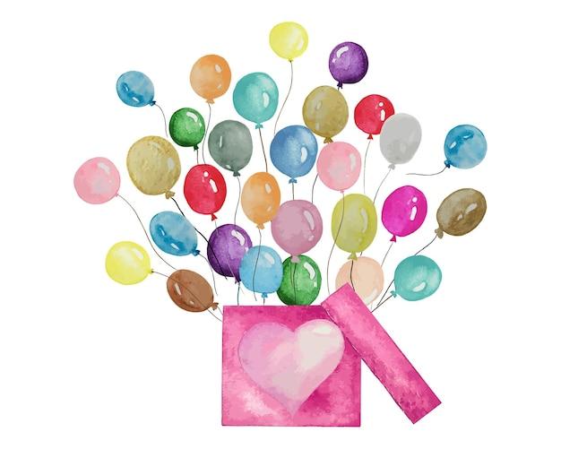 Piękne akwarelowe balony ustawione na szczęśliwą dekorację decoration