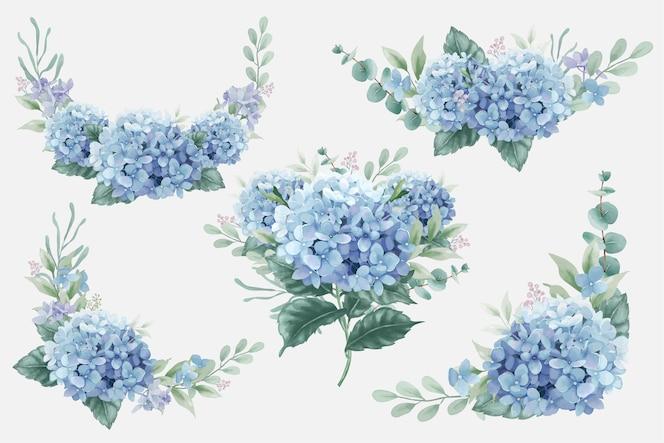 Piękne akwarelowe bukiety kwiatowe z kwiatami hortensji i gałęziami eukaliptusa