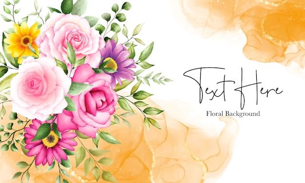 Piękne akwarelowe tło kwiatowe z ornamentem z atramentu alkoholowego