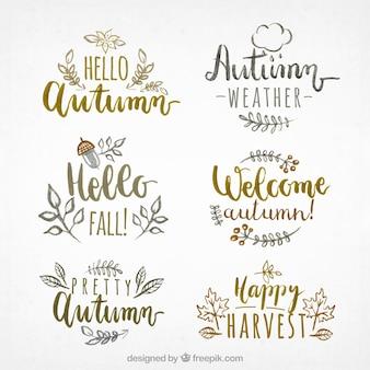 Piękne autumnal etykiety z zabawnym stylu