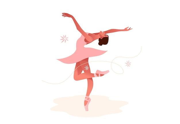 Piękne baleriny płaski zestaw ilustracji. piękno baletu klasycznego. młoda kobieta wdzięku tancerka baletowa sobie tutu. pointe, pastelowe kolory.