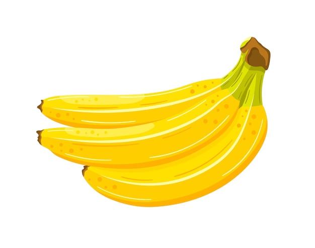 Piękne banany w stylu cartoon. płaska konstrukcja. żółte banany na białym tle na białym tle.