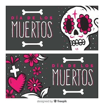 Piękne banery día de muertos z płaskim wzorem