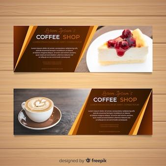 Piękne banery kawiarnia ze zdjęciem