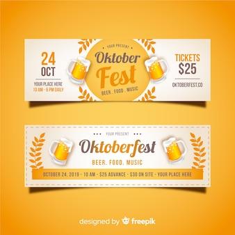 Piękne banery oktoberfest z płaskim wzorem