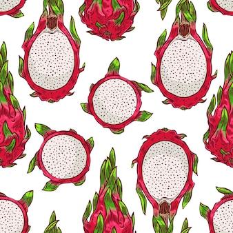 Piękne bezszwowe tło kolorowych owoców smoka. ręcznie rysowana ilustracja